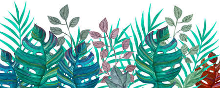 Tropical leaves. Watercolor drawing. Green color. Background.