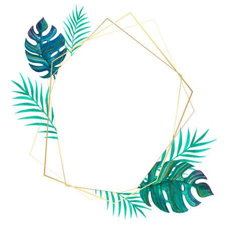 Tropical leaves. Geometric gold frame. Template for invitations, cards. Freehand drawing.