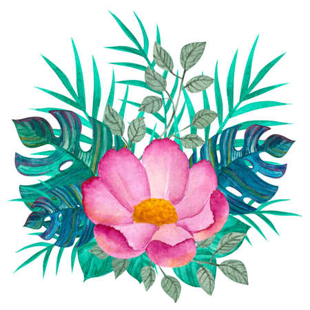 Tropical leaves and pink flower. Watercolor drawing. Green color. Background.