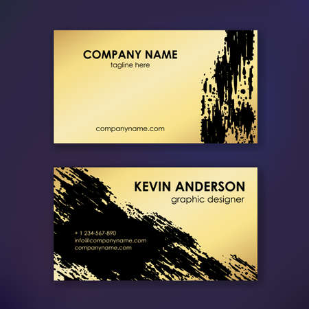 Layout of business cards. Ready to print. Double sided card. Brush strokes. Gold effect.