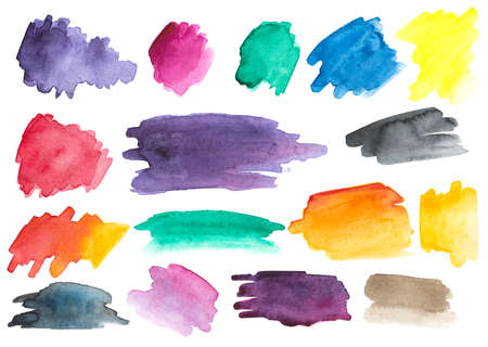 Many watercolor brush strokes. Different colors and shapes. Set. Gradients. Zdjęcie Seryjne