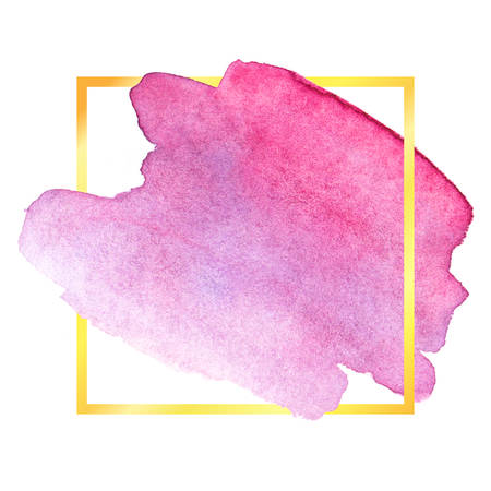 Watercolor brush stroke. Beautiful overflowing watercolor. Bright color. With frame.