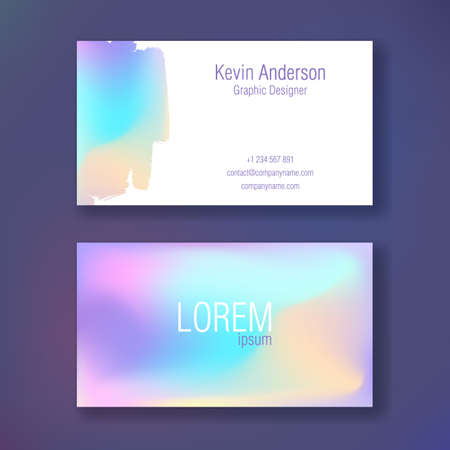 Layout of business cards. Ready to print. Double sided card. Neon color. Spill paint.