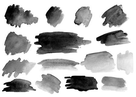 Many watercolor brush strokes. Different colors and shapes. Set. Gradients. Black and white. Zdjęcie Seryjne