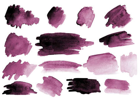 Many watercolor brush strokes. Different colors and shapes. Set. Gradients. Pink.