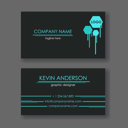 Layout of business cards. Ready to print. Double sided card. Geometric design. Zdjęcie Seryjne