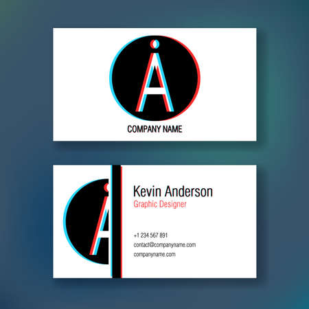 Layout of business cards. Ready to print. Double sided card. Glitch Effect.
