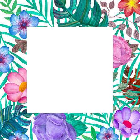Tropical leaves and various bright flowers. Square frame Template for invitations, cards. Freehand drawing. Zdjęcie Seryjne