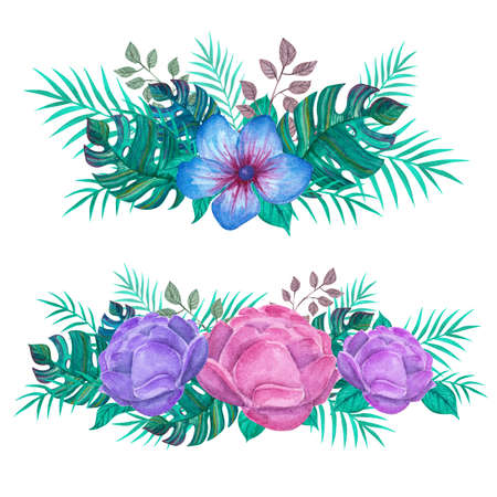 Peonies with tropical plants. Green jungle. Watercolor set to create images. For printing cards, beautiful fabric, wedding invitations.