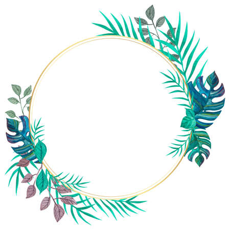 Tropical leaves. Round frame. Template for invitations, cards. Freehand drawing. Zdjęcie Seryjne