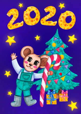 Mouse holding a Christmas candy. New year 2020. Holiday. Watercolor painting. Dark background with stars. Design for postcards, posters.