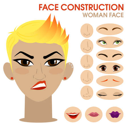Sassy girl. Woman face constructor. Cartoon vector style. Creation of spare parts. Different eyes, eyebrows, lips, nose. Character. Vector. Banque d'images - 129259184