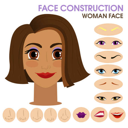 Happy girl. Woman face constructor. Cartoon vector style. Creation of spare parts. Different eyes, eyebrows, lips, nose. Character. Vector. Banque d'images - 129262231