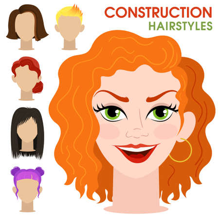 Curly girl. Woman face constructor. Cartoon vector style. Creation of spare parts. Different hairstyles and hair color. Character. Vector. Ilustracja