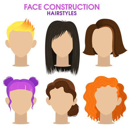 Hairstyle. Different haircuts and hair color. Woman face constructor. Cartoon vector style. Creation of spare parts. Character. Vector.