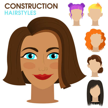Tanned girl. Woman face constructor. Cartoon vector style. Creation of spare parts. Different hairstyles and hair color. Character. Vector.