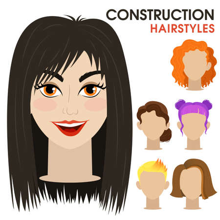 Mysterious girl. Woman face constructor. Cartoon vector style. Creation of spare parts. Different hairstyles and hair color. Character. Vector.  イラスト・ベクター素材