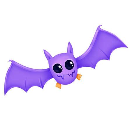 Bat. Nice purple. The sorceresss assistant. Illustration for Halloween. Raster drawing. Zdjęcie Seryjne