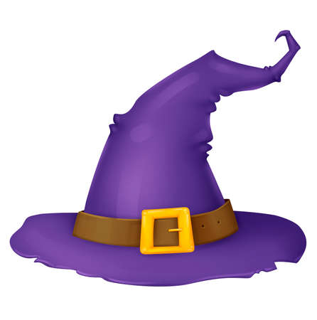 Witch hat. Purple pointy hat. Accessory wizard. Illustration for Halloween. Raster drawing.