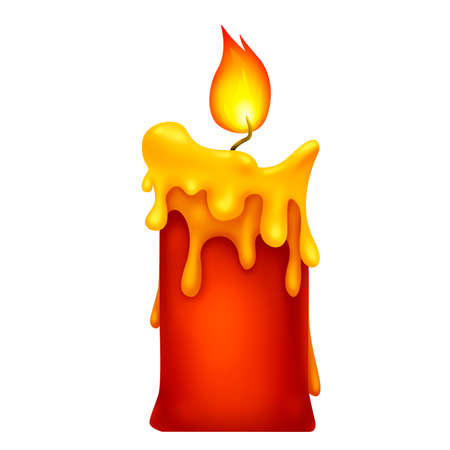 Red candle. Magic fire. Dripping wax. Illustration for Halloween. Raster drawing.