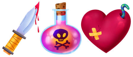 Poison, pink potion. Knife with blood. A broken heart with a worm. Set of illustrations for Halloween. Raster drawing.