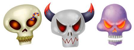 Three skulls. Different emotions. Anger, fear, rage. Burning eyes. Set of illustrations for Halloween Raster drawing Zdjęcie Seryjne - 130504962