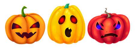 Three different pumpkins. Burning eyes. Set of illustrations for Halloween. Raster drawing. Zdjęcie Seryjne