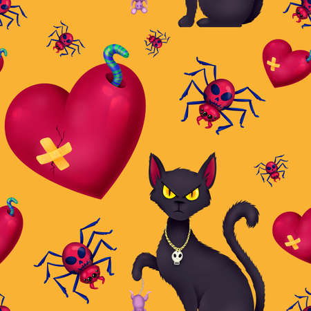 Seamless pattern for Halloween. A cat with a mouse, a broken heart, a spider with a skull. Pattern with yellow background. Stock Photo