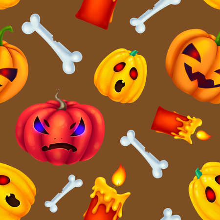 Seamless pattern for Halloween. Different pumpkins, bones, red candles. Rage. Pattern with brown background. Zdjęcie Seryjne