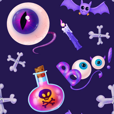 Seamless pattern for Halloween. Poison pink love potion, dice, inscription Boo, candle purple. Pattern with purple background.