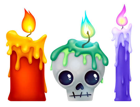 Different candles for witch rituals. Dripping wax. Magic light. Set of illustrations for Halloween. Raster drawing.