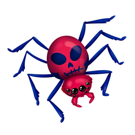 Threat bright spider. With a skull pattern on the back. Witchs helper. Illustration for Halloween. Raster drawing.
