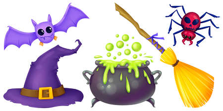 Cauldron, broom, bat, spider, hat. Witch stuff. Preparation of potions. Set of illustrations for Halloween Raster drawing Stock Photo