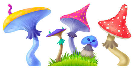Threat of poisonous mushrooms. Fly agaric. Bright toadstool. Set of illustrations for Halloween. Raster drawing.
