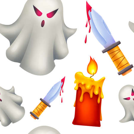 Seamless pattern for Halloween. A Ghost, red candles, a knife with blood on it. Pattern without background.