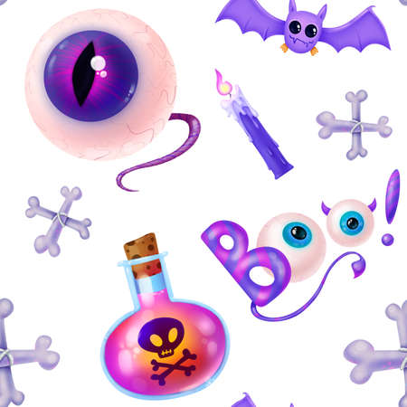 Seamless pattern for Halloween. Poison pink love potion, dice, inscription Boo, candle purple. Pattern without background.