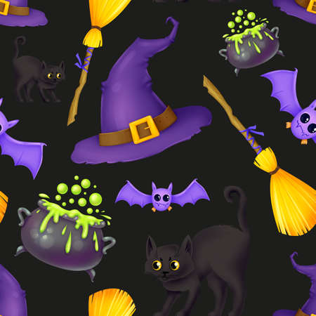 Seamless pattern for Halloween. A witchs hat, a broom, a wild black cat, a cauldron of potions, a bat. Pattern with black background. Stock Photo