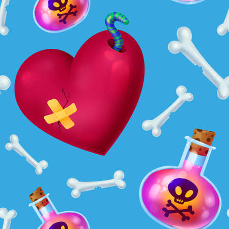 Seamless pattern for Halloween. Poison, love potion, dead mans bones, broken heart with a worm. Pattern with blue background.