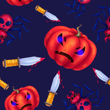 Seamless pattern for Halloween. Evil pumpkin, knives with blood, scary spider with a skull. Pattern with dark blue background. Stock Photo