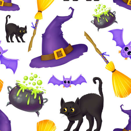 Seamless pattern for Halloween. A witchs hat, a broom, a wild black cat, a cauldron of potions, a bat. Pattern without background.