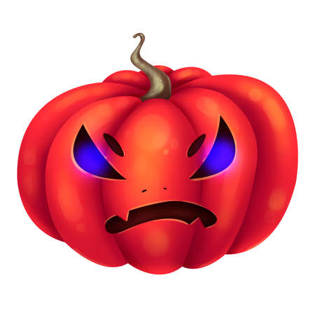 Angry red pumpkin. Glowing eyes. Illustration for Halloween. Raster drawing.