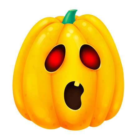 A frightened orange pumpkin. Glowing eyes. Illustration for Halloween. Raster drawing.