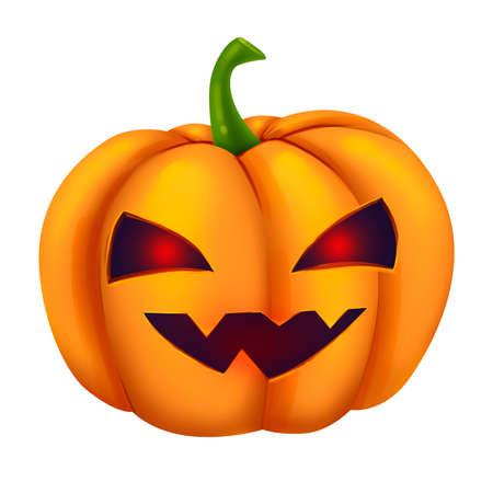 Funny scary orange pumpkin. Glowing eyes. Illustration for Halloween. Raster drawing.