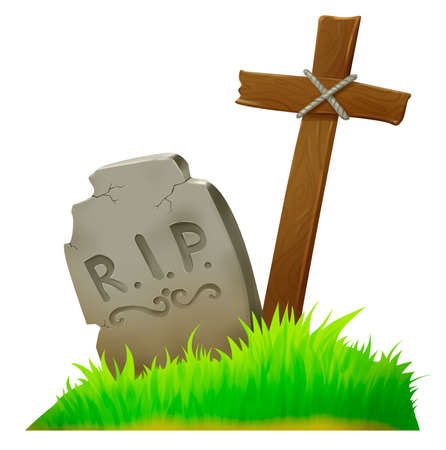 Old grave in the cemetery. Cross. Grass. Illustration for Halloween. Raster drawing. Stock Photo