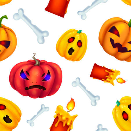 Seamless pattern for Halloween. Different pumpkins, bones, red candles. Rage. Pattern without background.