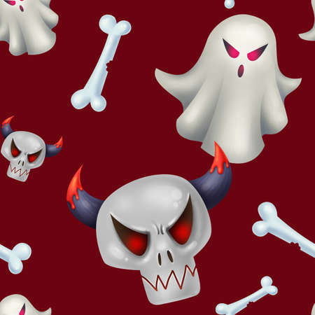 Seamless pattern for Halloween. Ghost, evil skull, bones. Pattern with red background.