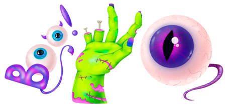 Zombie hand, writing BOO, eye with nerve. Set of illustrations for Halloween. Raster drawing.