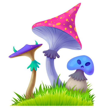 Three different poisonous mushrooms. Dangerous food. The witch has the ingredients for the potion. Illustration for Halloween. Raster drawing. Stock Photo