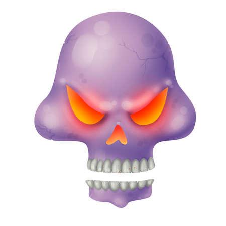 Evil skull. Dead. Skeleton. Magic and sorcery. Illustration for Halloween Raster drawing Zdjęcie Seryjne - 130506340
