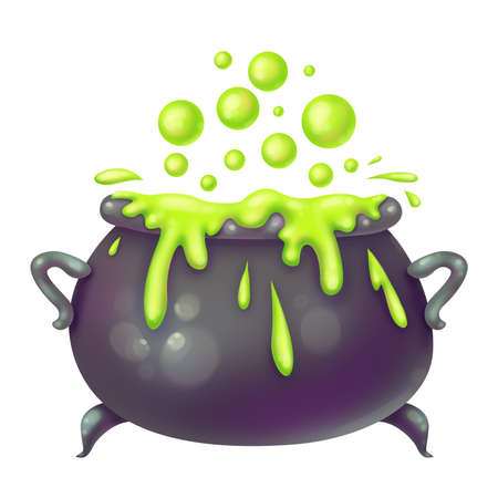 Witch's cauldron. Boils brew in the pot. Magic and sorcery. Illustration for Halloween. Raster drawing. Stock Photo